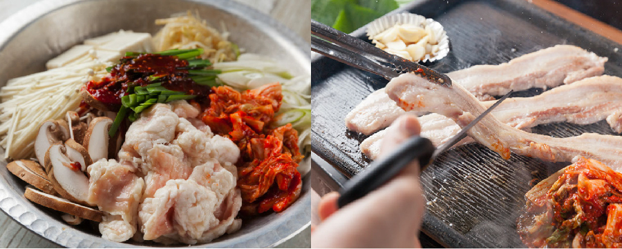 テッチャン鍋(雑炊or乾麺付き) ②サムギョプサル(ミニ冷麺付き)